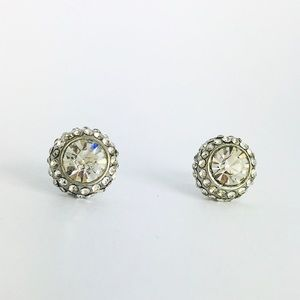 New! Crystal Rhinestones Stud Earrings Silver